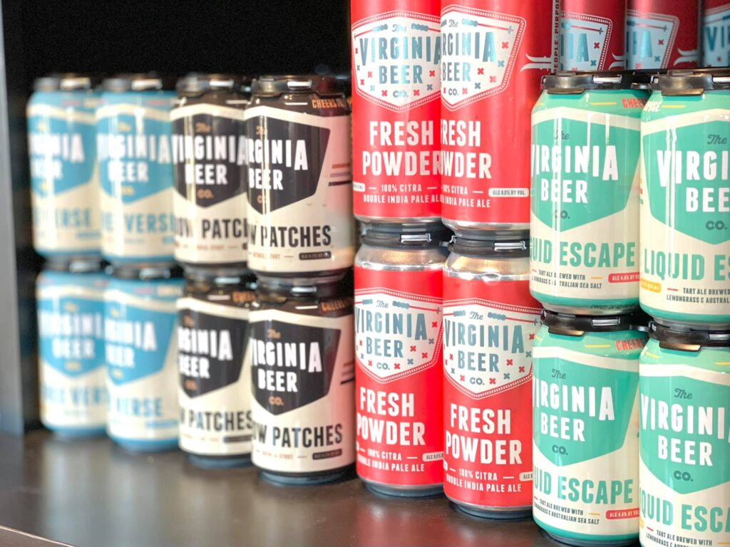 Various cans of Virginia Beer Company